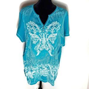 Dressbarn Butterfly Screen Print Top Size 3X